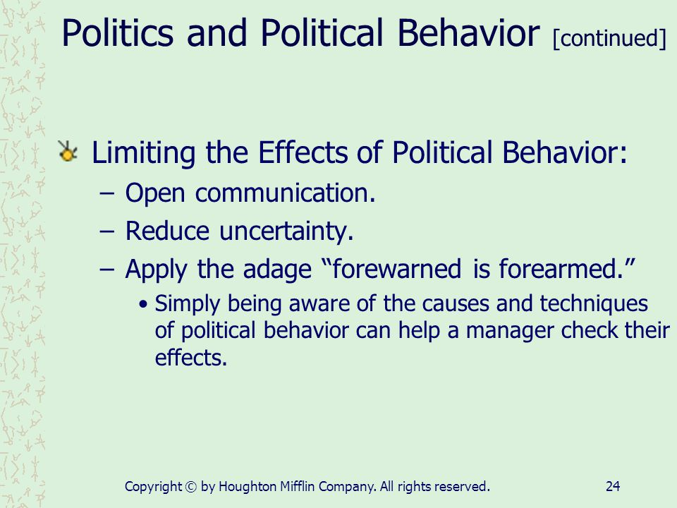 Politics and Political Behavior [continued]